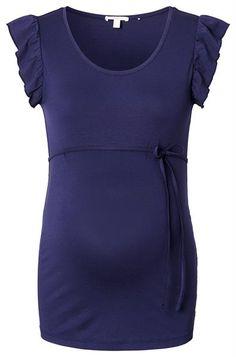 Dit zwangerschaps t-shirt van Esprit for mums met mouwtjes voorzien van roesjes is een trendy zomeritem. Het t-shirt is voorzien van elastan waardoor er ruimte is voor groei en het comfortabel draagt van maand één tot en met negen. De losse ceintuur maakt de stijlvolle look van dit zwangerschaps t-shirt helemaal af.