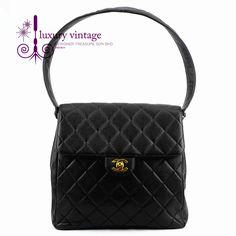 CHANEL Vintage Shoulder Bag Black Color Lambskin With Gold Hardware Ref.code-(KRUK-2) More Information Pls Email  (- luxuryvintagekl@ gmail.com )
