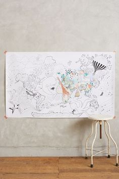 Let's Travel Colouring Mural - anthropologie.eu