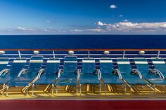 Blue seas and blue skies.
