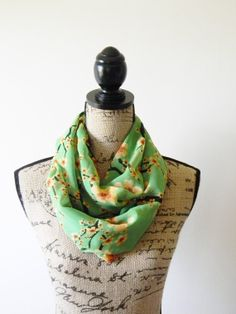 Green Chiffon Infinity Scarf/ Yellow floral Scarf/ Eternity Scarf/ Circle Scarf/ Loop Scarf/ Neck Wrap/ Summer Scarf on Etsy, $15.00
