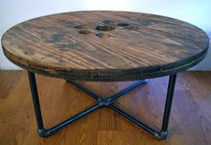 Reclaimed Wood Spool Coffee Table