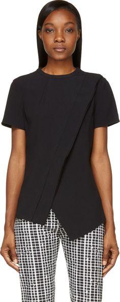 Proenza Schouler - Black Asymmetric Drape Blouse