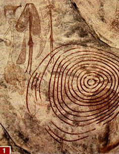 Rock drawing of a human figure,   possibly a shamanistic dancer