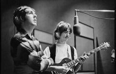 Paul and George Harrison recording 'The White Album', Trident Studios, London, 1968. Photo by Linda McCartney.