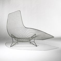 HARRY BERTOIA    important prototype lounge chair    USA, c. 1952  welded steel wire  58 w x 44 d x 35.75 h inches  The lounge chair presented on the following pages is a prototype made by Harry Bertoia as part of his wire furniture developed for Knoll in the early 1950s.
