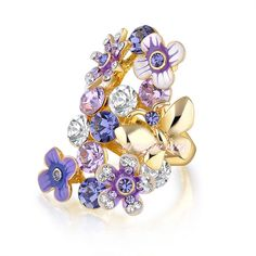 butterfly flower ring purple crystal ring fashion jewelry lady cocktail ring R24 #Cocktail