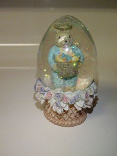 Easter Bunny Rabbit Snow Globe with Pastel by BootyButtons on Etsy, $5.00