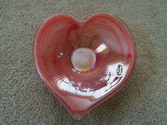 Murano Venetian Glassware Modern Italian Art Glass Candle Dish Hand Blown Heart