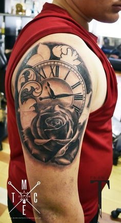 pocket watch rose tattoo clock rose tattoo