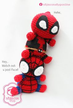 Couple Deadpool & Spiderman Chibi Cute Dolls by nhimconshop