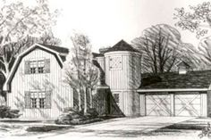 Love this barn plan - 1831 sq ft - master bedroom down, no separate room for library.