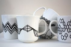 So easy to do with a ceramic paint pen--I want to do this on mismatched white mugs...