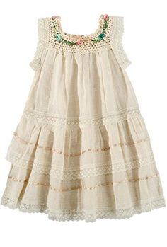 Traditional Baby Girl Toddler Dress Size 4 Beige with Crochet Neckline * Read more reviews of the product by visiting the link on the image. (This is an affiliate link) #BabyGirlDresses