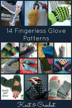 14 Free Fingerless Glove Patterns. You can knit or crochet your own fingerless gloves with these great patterns. FiberArtsy.com #knittingpatterns #crochetpatterns