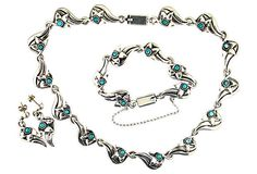 Mexican Silver Demi-Parure, Taxco Sterling Turquoise Bracelet Necklace Earrings