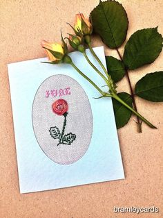 June Birthday. Embroidered Rose Card For June's Birthday!  £3.00 Cross Stitch Cards, Summer Sky, French Knots, Blank Cards, Gift Guide, 3 D, June, Colours, Birthday