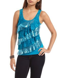 Sequin & Lace Ruffle Tank: Charlotte Russe