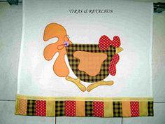 PANO DE PRATO (TIRAS & RETALHOS BY BIA) Tags: galinha artesanato patch patchwork cozinha aplicao retalhos patchcolagem panodeprato