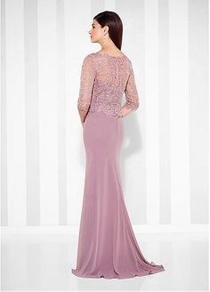 Charming Tulle & Chiffon Scoop Neckline Sheath Mother Of The Bride Dresses With Lace Appliques