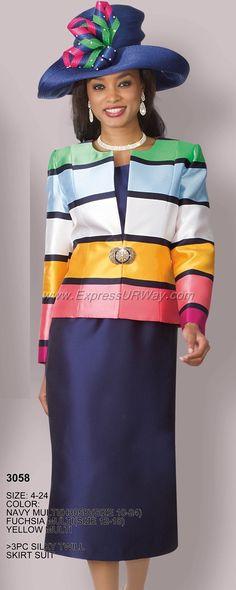 Multi Colored Womens Skirt Suit You set. Women Church Suits, Suits For Women, Clothes For Women, Ladies Suits, Women's Suits, Church Attire, Church Dresses, Donna Vinci Church Suits, Sunday Clothes