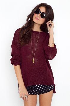 black white polka dot shorts oxblood sweater