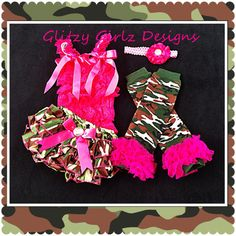 5pc Camo/hot pink satin ruffle bloomer set/legwarmers/diaper cover/photo prop/pagent/military on Etsy, $45.00