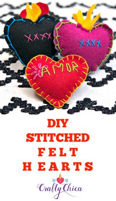 How to whip up these pretty stitched felt hearts using craft felt and embroidery thread! Perfect for Valentine's Day, and a cinch to make! Easy Felt Crafts, Crafts To Make, Crafts For Kids, Diy Crafts, Felt Diy, Diy Art Projects, Felt Projects, Sewing Projects, Felt Hearts