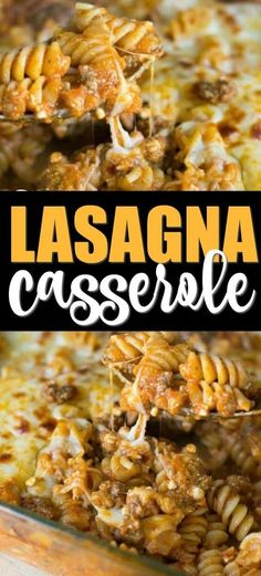 This is an easy lasagna casserole recipe (or baked rotini as it's also called) that's as simple as it is delicious. This recipe combines tender pasta, zesty spices, hearty ground beef, tomato sauce and plenty of cheese. Simple and hearty and delicious, it Ground Beef Recipes For Dinner, Dinner With Ground Beef, Easy Dinner Recipes, Casseroles With Ground Beef, Easy Beef Recipes, Recipes Using Ground Beef, Chicken Recipes, Ground Beef Casserole, Potluck Recipes