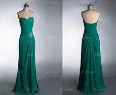 green prom dress long prom dress chiffon prom dress by fitdesign, $119.00
