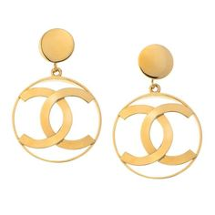 Vintage Chanel Iconic CC Dangling Earrings 1980