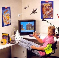 Yellow Capcom hat, pink shirt, acid wash jeans, with the wisdom of Nintendo Power, wielding an NES controller, this was gaming.  lol  And don't overlook the mullet of great justice!