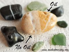 make river rocks beach pebbles shiny natural oil finish tutorial Beach Rocks Crafts, River Rock Crafts, Beach Themed Crafts, River Rock Decor, How To Polish Rocks, How To Make Rocks, Rock Tumbling, Rock Hunting, Rock Collection