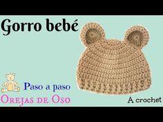 Gorro Bebe Orejas de OSO 3-6M A crochet Ganchillo  Bear hat Gorros c64bb8728f9