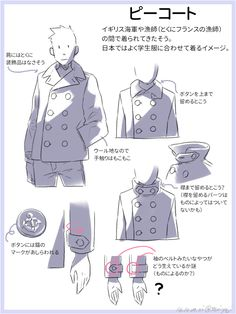 Tutorial about coats Manga Drawing Tutorials, Manga Tutorial, Drawing Techniques, Art Tutorials, Manga Clothes, Drawing Clothes, Moe Manga, Comic Manga, Character Design References