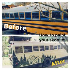 Our step by step instructions for painting your sweet skoolie! School Bus Tiny House, School Bus Camper, Old School Bus, Converted School Bus, Rv Bus, Bus Life, Camper Life, Bus Remodel, Bus Living