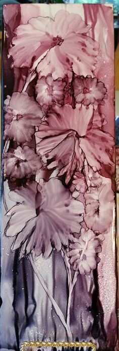 Initially a tree becomes soft petal flowers in alcohol ink on 12x4 tile by Tina
