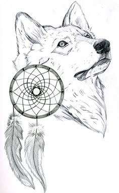 Beautiful Native American Wolf Coloring Pages Love Drawings, Animal Drawings, Art Drawings, Drawings Of Wolves, Wolf Tattoos, Dream Catcher Sketch, Dream Catchers, Dream Catcher Coloring Pages, Native American Wolf