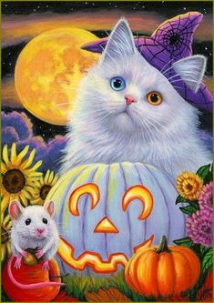 Chat Halloween, Halloween Mignon, Halloween Artwork, Fete Halloween, Halloween Painting, Halloween Prints, Halloween Pictures, Vintage Halloween, Arte Horror