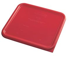 Rubbermaid Commercial Products 1980307 Plastic Food Storage Container Lid Square 12 quart Red * You can find out more details at the link of the image.