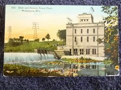 1912 Dam and Electric Power Plant in Watertown, WI Wisconsin PC