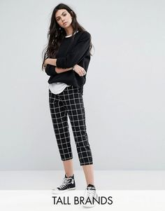 Noisy May Tall | Noisy May Tall Grid Print Cropped Pants