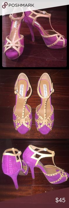 Fuscha Show Stopper Heels Show Stopper Heels. Gold details all over with a very vibrant fuscha color. Size: 8 Shoes Heels
