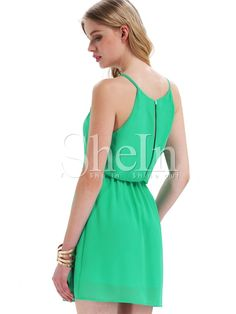 Green Aqua Off the Shoulder Back Split Dress -SheIn(abaday)
