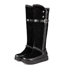 Women's Shoes Round Toe Flat Heel Flocking Knee High Boots More Colors available – USD $ 34.99
