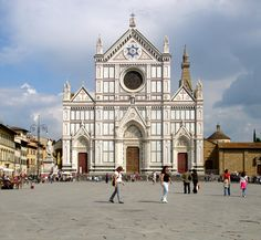 Basilica of Santa Croce, Michelangelo's tomb is inside, along with Galileo, Dante, Machiavelli, and many more.    Florence, Italy
