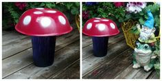 Mushrooms msde from spray painted bowls and vases! They look so cute with my gnomes!