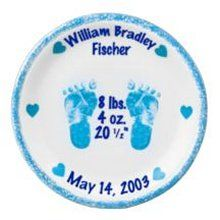 """Boys Personalized 8"""" Porcelain Birth Plates. Foot Prints in Time. Celebrate a new baby boy with this genuine 8 porcelain birth plate. It is shipped with a FREE black plate stand. Please specify the first name, middle name, last name, the weight in pounds and ounces, the length and the date of birth. This is an outstanding gift for new Moms  Dads and it is sure to become a family heirloom."""