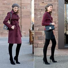 Get this look: http://lb.nu/look/8597345  More looks by Kristina: http://lb.nu/moodforstyle  #chic #classic #elegant #overkneeboots #coat #beret #fashionblogger #boots #heels