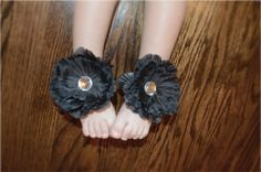 Black Barefoot Peony Sandals for Baby by BellaBumbleBee on Etsy
